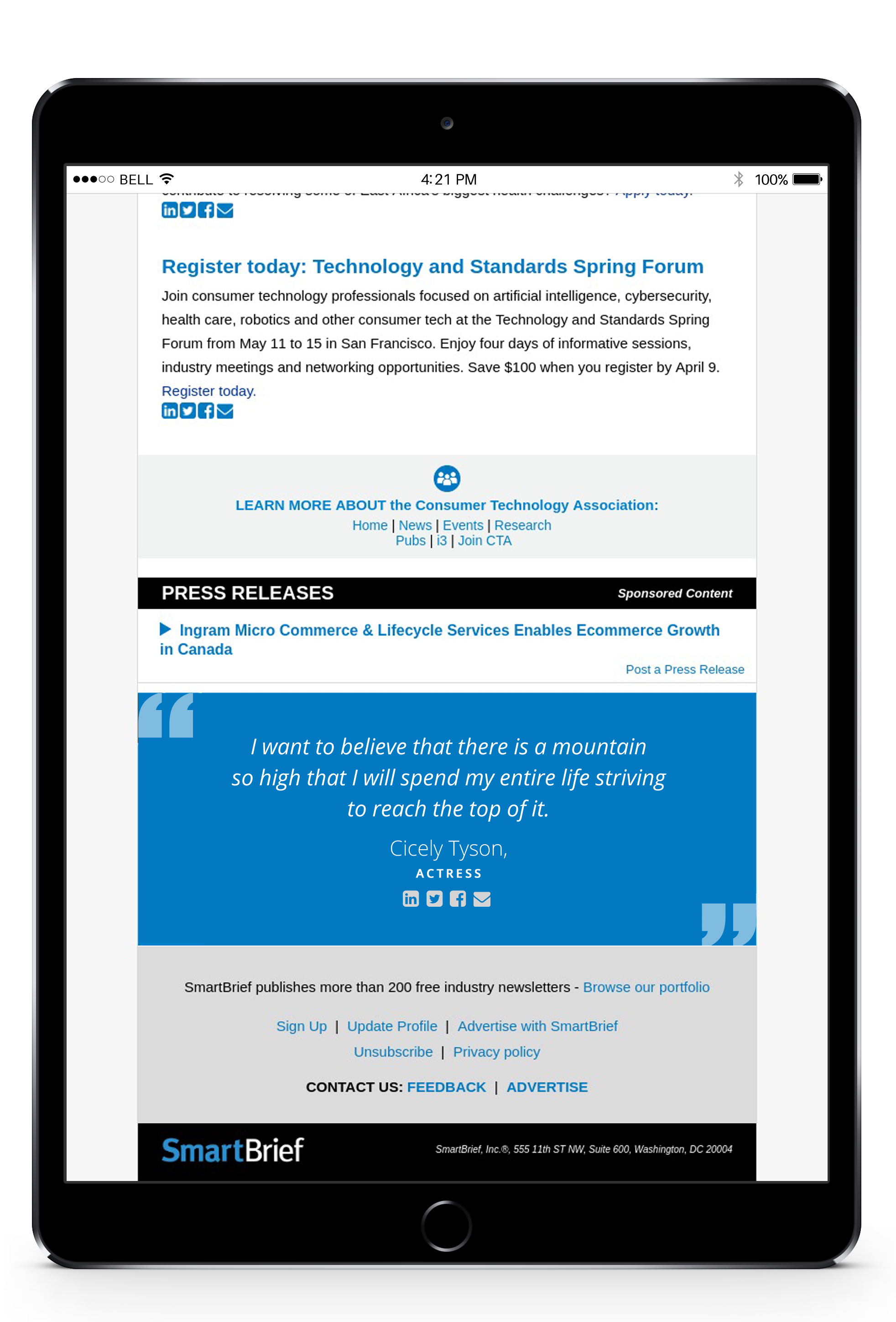 SmartBrief Press Release displayed on an iPad